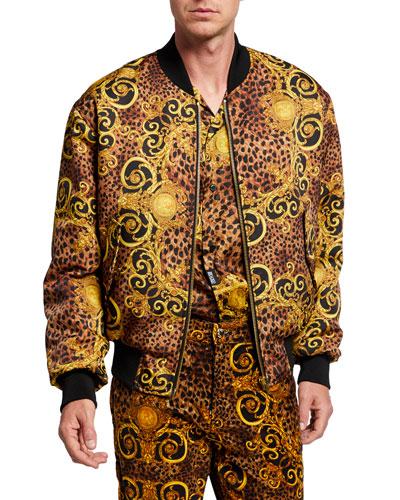 Men's Leopard Baroque Reversible Bomber Jacket