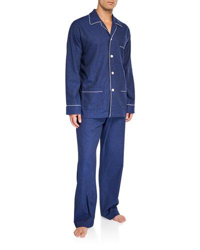 Men's Balmoral 3 Cotton Pajamas w/ Piping