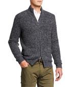 Neiman Marcus Men's Melange Cashmere Full-Zip Sweater