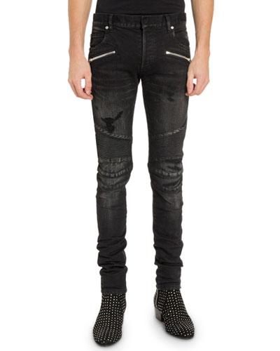 Men's Slim Ribbed Zip-Pocket Jeans