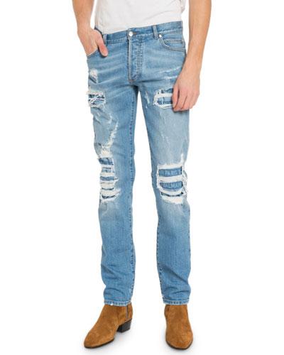 Men's Distressed Slim-Fit Logo Jeans