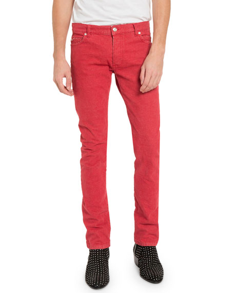 Balmain Men's Straight Jeans with Raw Edges