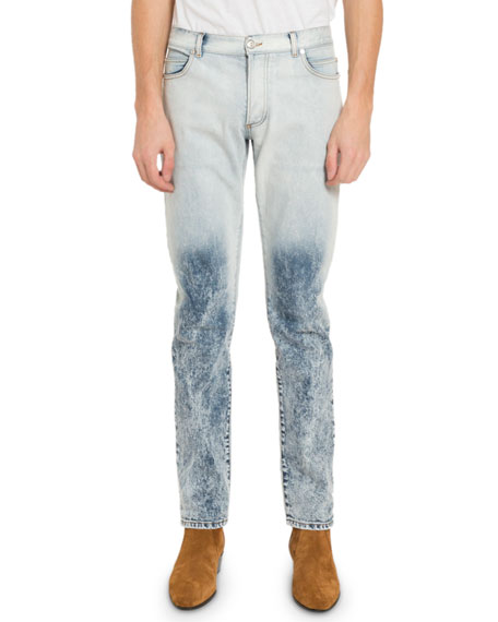 Balmain Men's Two-Tone Bleached Jeans
