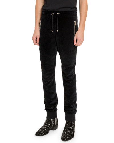 Men's Velvet Moto Sweatpants