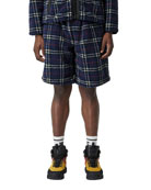 Burberry Men's Keaton Check-Pattern Sweat Shorts