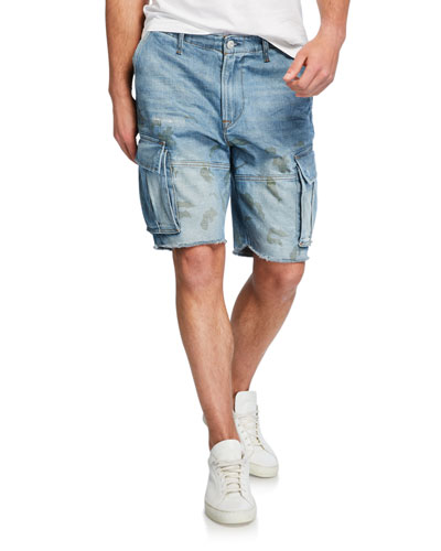 Men's Cutoff Denim Cargo Shorts