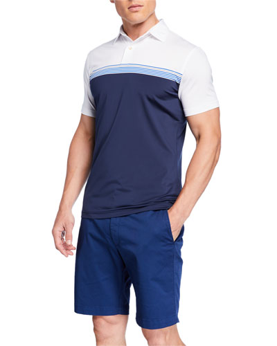 Men's Tour Fit Engineered Stripe Stretch Jersey Polo Shirt