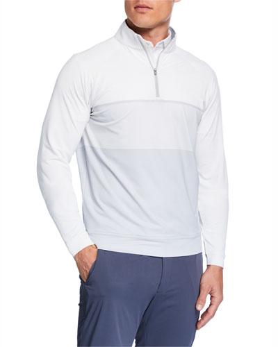 Men's Engineered-Stripe Quarter-Zip Raglan Sweater