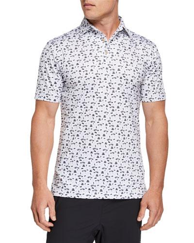 Men's Secret Agent-Print Polo Shirt