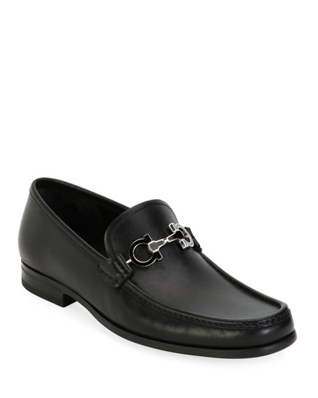 Salvatore Ferragamo Men's Leather Loafer with Reversible Gancini Ornament