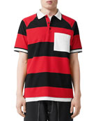 Burberry Men's Barley Striped Polo Shirt
