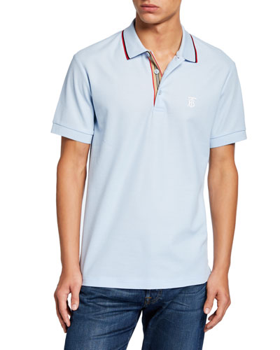 Men's Icon Stripe-Placket Polo Shirt, Blue