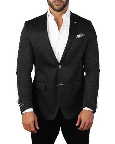 Men's Descartes Scroll-Pattern Two-Button Jacket