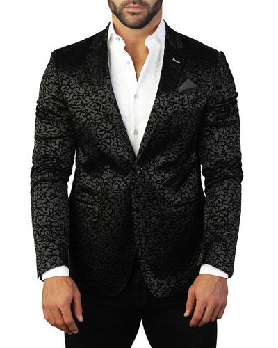 Men's Socrates Flock-Branch Two-Button Jacket