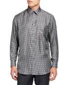 Burberry Men's Allover-Print Silk Sport Shirt
