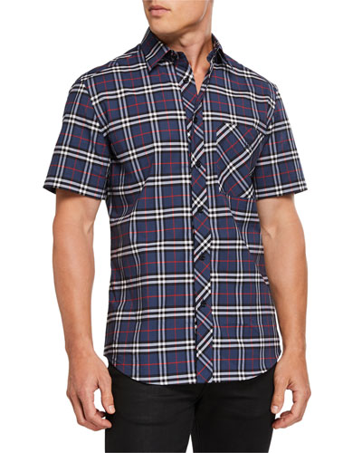 eba027a45ed2 Quick Look. Burberry · Men's Check Short-Sleeve Sport Shirt. Available in  Blue