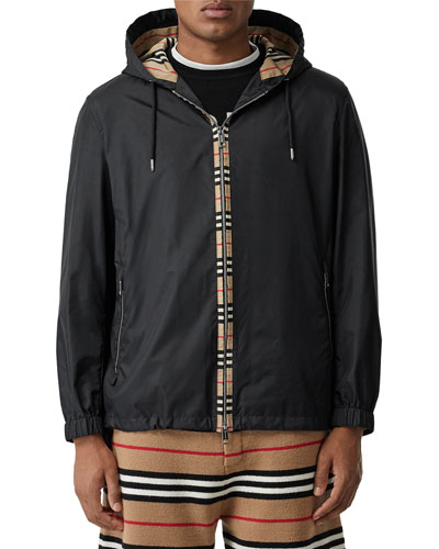 Men's Nylon Jacket with Signature Vintage Check Trim