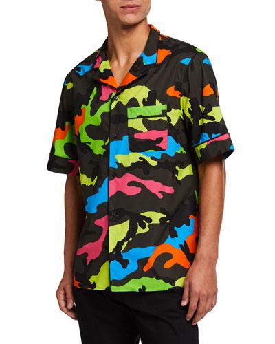 Men's Neon Camo-Print Army Camp Shirt