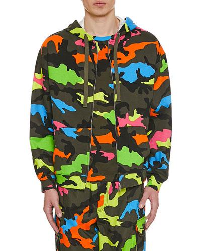 Men's Neon Camo Front-Zip Hoodie