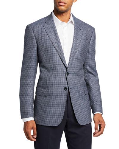 Men's Mini-Check Wool Two-Button Sport Coat, Blue