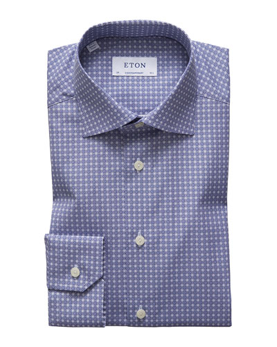 Men's Circle Medallion-Print Dress Shirt
