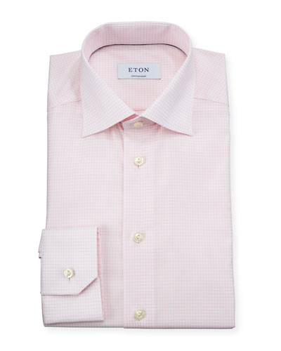 Men's Contemporary Fit Grid-Check Dress Shirt