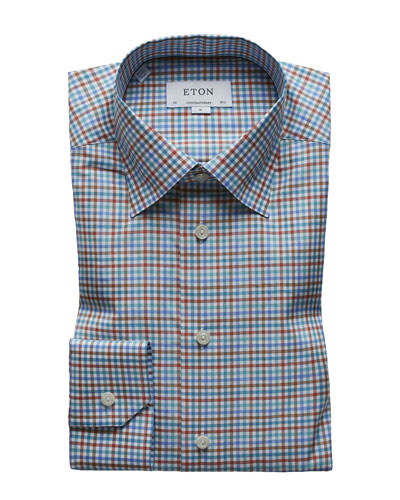 Men's Multi-Check Cotton Dress Shirt