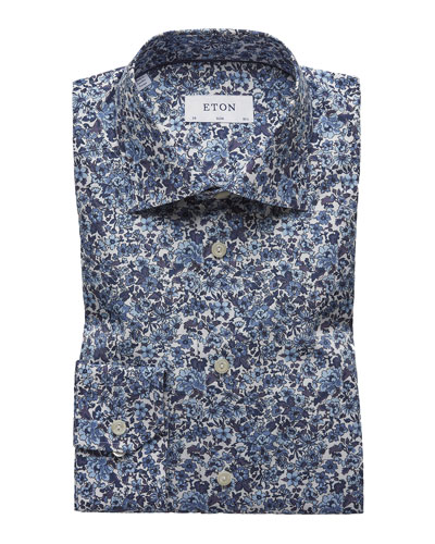Men's Floral Cotton Dress Shirt