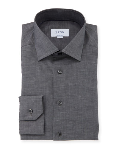 Men's Contemporary-Fit Cotton/Linen Dress Shirt, Charcoal
