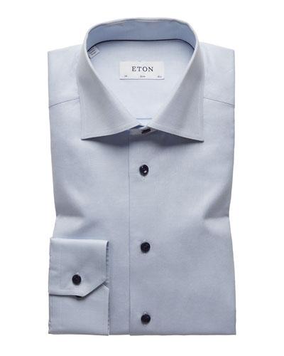 Men's Navy-Button Twill Dress Shirt