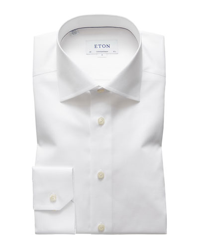 Men's Contemporary-Fit Cotton/Linen Dress Shirt, White