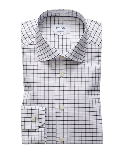 Men's Windowpane Check Dress Shirt