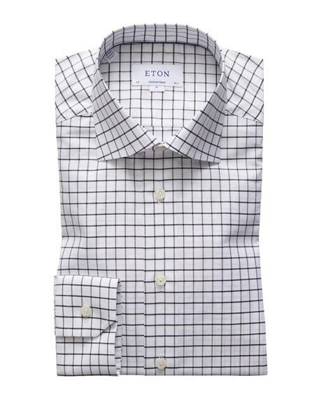 Eton Men's Contemporary-Fit Windowpane Check Dress Shirt