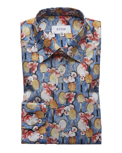 Men's Tennis-Print Cotton Dress Shirt
