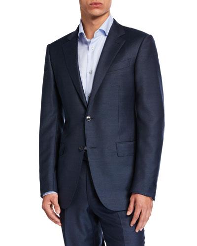 Men's Solid Wool-Silk Two-Piece Suit