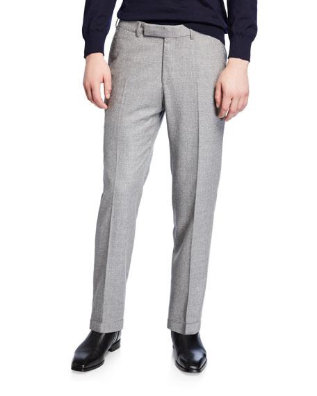 Ermenegildo Zegna Men's Melange Wool Regular-Fit Trousers