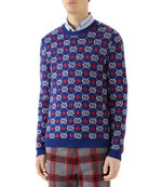Gucci Men's Knit Star & Logo Sweater