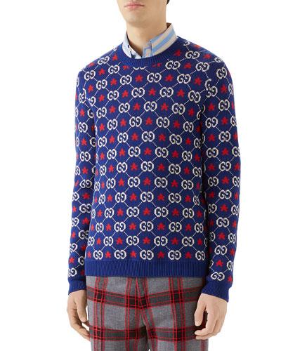 Men's Knit Star & Logo Sweater
