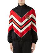 Gucci Men's Chevron Jersey Track Jacket w/ Logo
