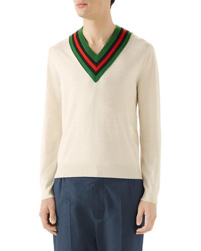 Men's Tipped Stripe V-Neck Sweater