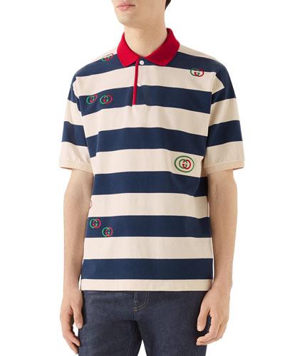 Men's GG Heavy Jersey Stripe Polo Shirt