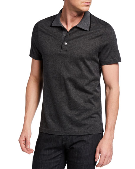 Canali Men's Mercerized Interlock Polo Shirt