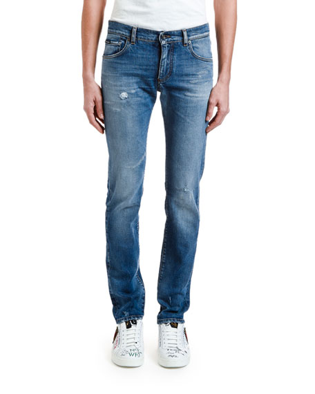 Dolce & Gabbana Men's Distressed Straight-Leg Stretch-Denim Jeans