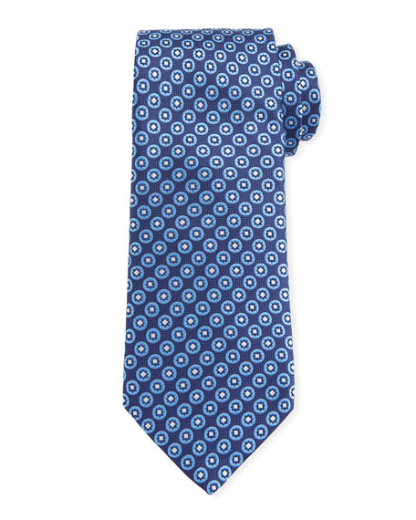 Canali Men's Chevron Medallion Silk Tie, Blue