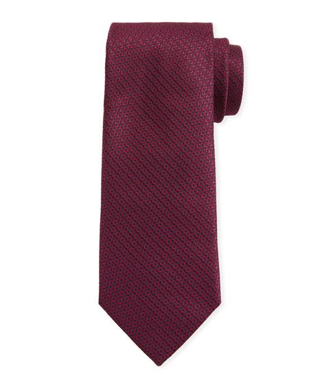 Canali Men's Star-Weave Silk Tie, Red