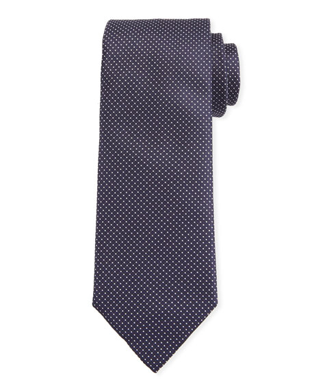 Canali Men's Micro-Dot Silk Tie, Blue