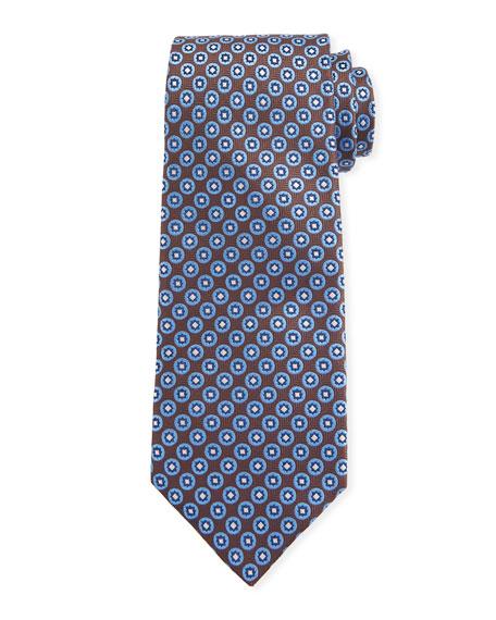 Canali Men's Chevron Medallion Silk Tie, Brown