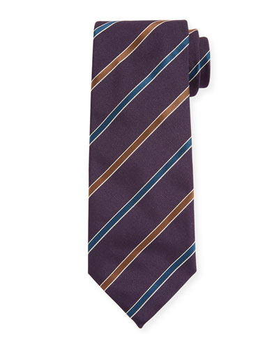 Contemporary Rep Striped Silk Tie, Navy