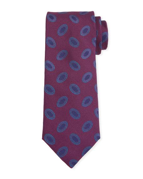 Canali Men's Disc Motif Silk Tie, Red