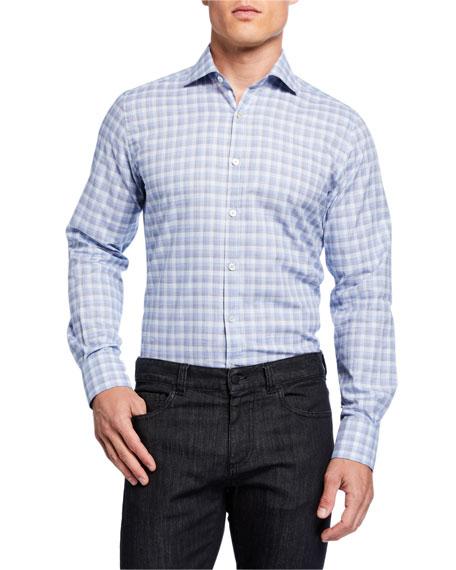 Canali Men's 2-Ply Cotton Check Sport Shirt